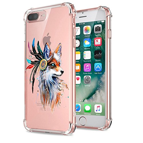 Price comparison product image iPhone 8 Plus Case Silicone Soft cover Transparent Shockproof Kimyer Scratch Resistant Rubber Protector Flexible Reinforced Corner TPU Case Cute Pattern for iPhone 8 Plus- Clear (Wolf)