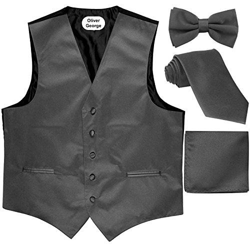Oliver George 4pc Solid Vest Set-Charcoal-L