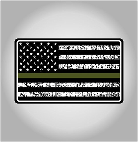 Military Thin Line USA Flag Decal American Flag Sticker Grunge Distressted Green Stripe for ars and Trucks for Honor and Support of our Troops and Military Personnel Vinyl Window Bumper 5 x 3 inch