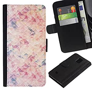 Billetera de Cuero Caso Titular de la tarjeta Carcasa Funda para Samsung Galaxy S5 Mini, SM-G800, NOT S5 REGULAR! / Orange Purple Red Abstract Pattern / STRONG