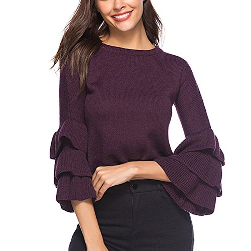 Longueues Manches moichien Ruffle Cropped Violet Pull Ai Hiver Femmes Chandail Mode Tricot pFqwHX