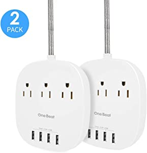 2 Pack Power Strip with USB, Desktop Charging Station with 3 Outlet 4 USB Ports 4.5A, Flat Plug, 5 ft Long Braided Extension Cord for Home and Office, ETL Listed, White