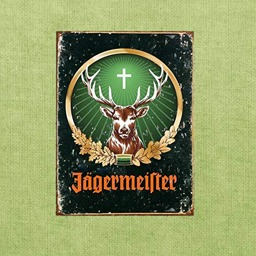 Vintage Jagermeister Retro Tin Sign Metal Sign TIN Sign 7.8X11.8 INCH