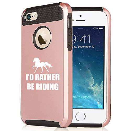 (For Apple iPhone 5 5s Rose Gold Shockproof Impact Hard Soft Case Cover I'd Rather Be Riding Horse (Rose Gold-Black))