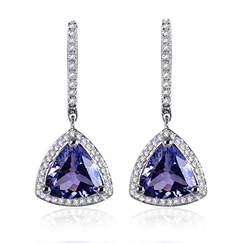 Antique Vintage Africa Natural Sparkly Tanzanite Diamond for Women 14K White Gold Earrings by Lanmi