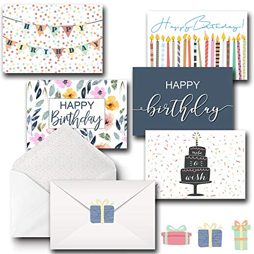 Happy Birthday Greeting Card Assorted Pack - Bulk Box Set of 20 Cards & Decorative Envelopes and Sticker Set - Blank Cards - Great For Office Birthdays -