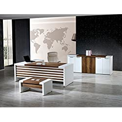 "Modern Leon 3 Piece L Shaped Desk Office Suite Furniture Set 87"" White & Brown"
