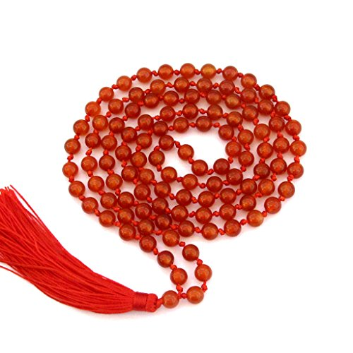 Hand Knotted Red Agate 6mm 108 Beads Buddhist Buddhism Prayer Mala for Meditation
