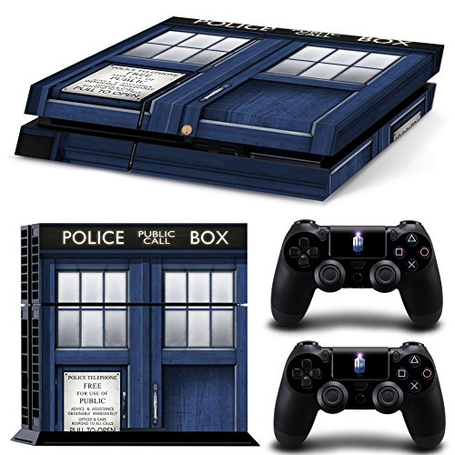Ambur® PS4 Console Designer Skin for Sony PlayStation 4 System plus Two(2) Decals for: PS4 Dualshock Controller --- Doctor - Planet 2 Order Blue Pre