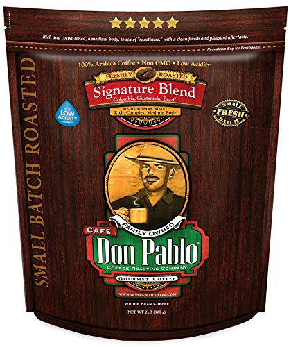 2LB Don Pablo Signature Blend – Medium-Dark Roast – Whole Bean Coffee – Low Acidity – 2 Pound (2 lb) Bag