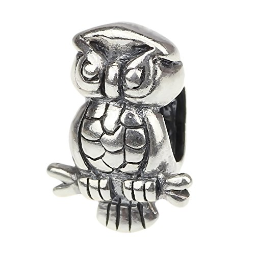 Beads Hunter Jewelry Animal 925 Solid Sterling Silver Charm Pig&owl&cat&puppy Dog&horse&seahorse&turtle&butterfly&elephant&dolphin&frog&fox&bear$fish (owl02)
