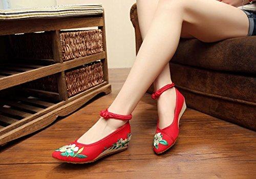 WXT Zapatos bordados finos, lino, lenguado del tendón, estilo étnico, zapatos femeninos, manera, cómodo, zapatos de lona aumentados red green flowers