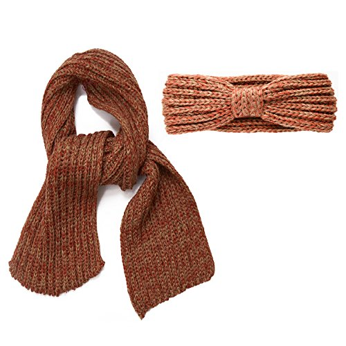 SANREMO Girl's Marled Knit Warm Winter Outdoor Scarf and Headband Accessory Set (Rust / - Rust Camel