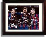 Framed Lionel Messi, Neymar Jr, Luis Suarez: ''The Barcelona Trio'' - Framed Autograph Replica Print