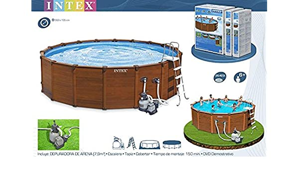 INTEX Piscina Sequoia Spirit 569 X 135 Cm Metal Frame Madera Color: Amazon.es: Hogar