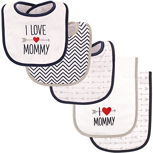 Luvable Friends Baby Boy and Baby Girl 5 Pack Bib and Burp Cloth Set, Boy Loves Mommy