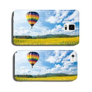 Hot air balloon over yellow flower fields against blue sky cell phone cover case iPhone6 Plus