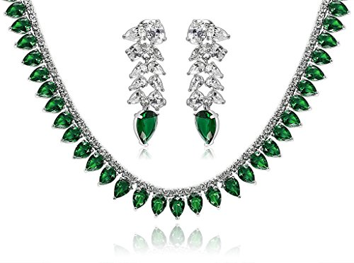 Epinki Silver Plated Jewelry Set, Wheat Drop Cubic Zirconia Green Wedding Necklace And Earrings Set by Epinki