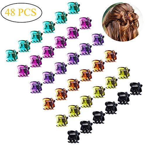 Mini Hair Claws For Women Girls Colorful Hair Clips Small Classics Mini Crown Claw Clip For Short Hair Pins Clamps Plastic Metal Jaw Clips Set 48 Pcs,Multicolored  (Colored Hair Claws)
