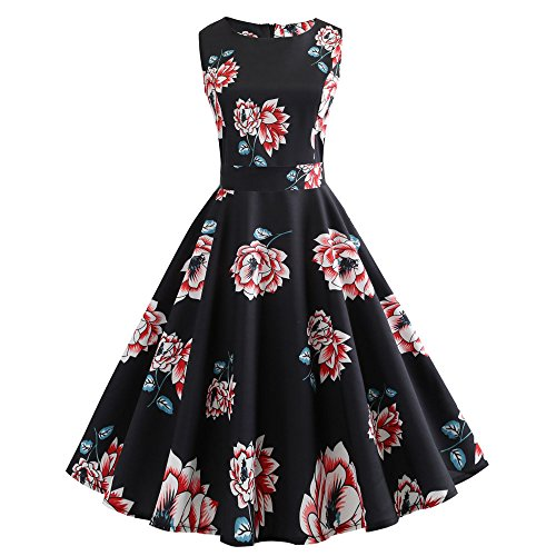 aySeventh Women Vintage Printing Bodycon Sleeveless Casual Evening Party Prom Swing Dress ()