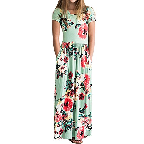 YIJODM Girls Floral Maxi Dress, Flower Printed Short Sleeves Dress with Pockets Summer Long Holiday Dress Green