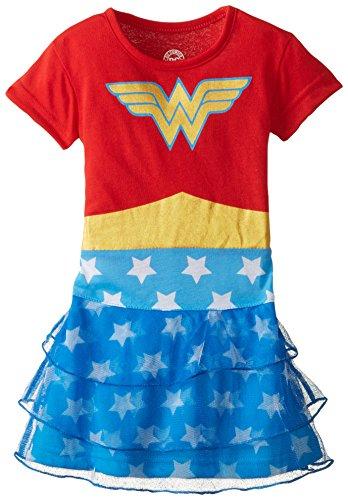 Wonder Woman Little Girls' Costume Nightgown Pajamas, Red, 4T ()