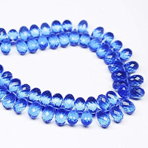 GemAbyss Beads Gemstone Tanzanite Quartz Faceted Tear Drop Briolette Gemstone Loose Craft Beads 5 Pair 10mm x 5mm -