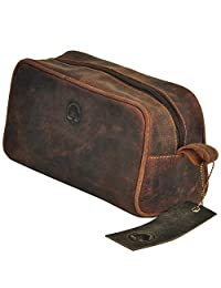 TONY'S BAGS - Leather Toiletry Bag compact Leather Dropp Kit for Travel in Vintage Leather
