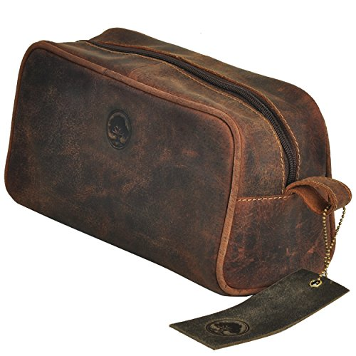 TONY'S BAGS Handmade Buffalo Genuine Leather Toiletry Bag Dopp Kit Shaving and Grooming Kit for Travel > Gift for Men Women - Hanging Zippered Makeup Bathroom Cosmetic Pouch Case in - Oakleys Small Faces For Best