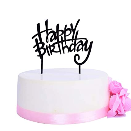 SHAMI Happy Birthday Cake Topper Premium Quality Acrylic Cursive Toppers Party Decoration Supplie