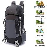 Outdoor Trekking Bag Hiking Backpack Waterproof Camping Bag for Travel Men Women Skiing Climbing Mountaineering Backpacking (Black)