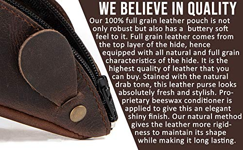 Rustic Leather Mouse Coin Purse Pouch Change Holder Cute Design YKK Zipper By Nabob Leather Bourbon Brown
