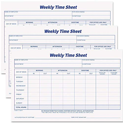 Tops Weekly Employee Time Sheet, 8.5 x 5.5 Inches, 100 Sheets per Pad, 6 Pads/Pack