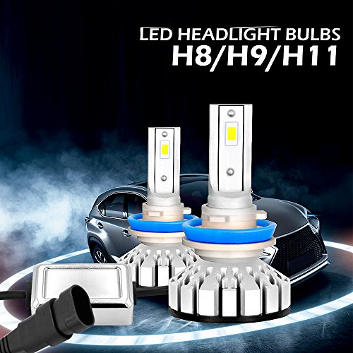 H11/H8/H9 PHILIPS LUMILEDS LED Automobile Headlight Bulbs with Advanced LED Chip and All-in-One Conversion kit-80W/12,000LM/6,000K (H11/H8/H9