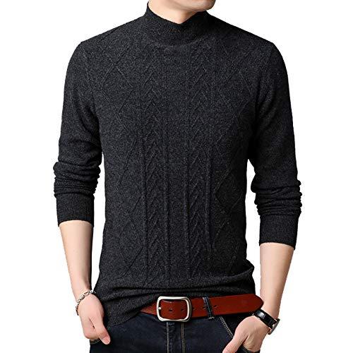 Flygo Mens Mock Turtleneck Pullover Cashmere Sweaters (Large, Dark Grey)