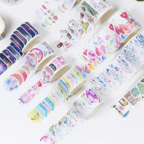 KANGBOOS Tape 12pcs DIY Kawaii Crystal Forest Foods Japanese Masking Washi Tape Cute Decorative Adlhesive Scrapbooking for Homemade Stationery