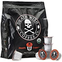Death Wish Single Serve Coffee Pods for Keurig/K-Cup Style 2.0 Brewers, USDA Certified Organic & Fair Trade (50 Count Bulk Value Bag)