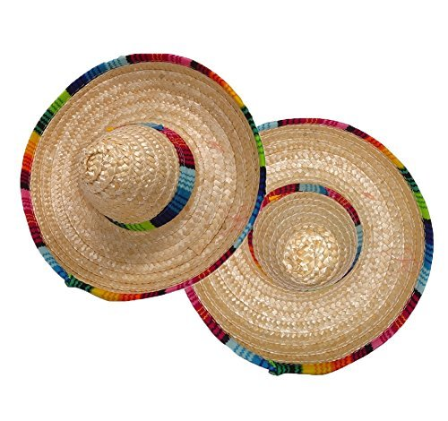 ISusser 2Pc colorful straw hat, hat flanging, Home Furnishing decoration - Mini Sombrero Top Hat Headband Fiesta Party Supplies -