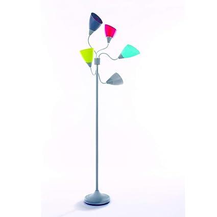 Lámpara de pie con 5 focos articulados y orientables de varios colores