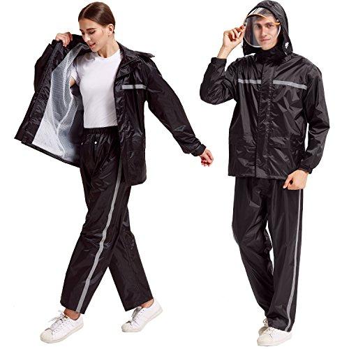 Peacoco Motorcycle Rain Suit for Men & Women Waterproof Hooded Rainwear Jacket & Trouser Suit (Rain Ladies Motorcycle Suit)