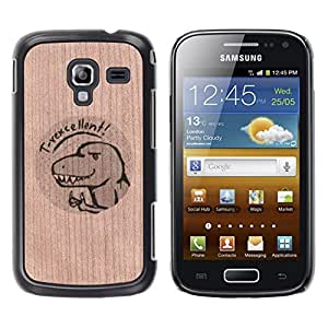- / T-Rex Funny Cartoon Drawing - - Funda Delgada Cubierta Case Cover de Madera / FOR Samsung GALAXY Ace 2 I8160 / Jordan Colourful Shop/