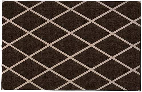 House, Home and More Skid-Resistant Carpet Indoor Area Rug Floor Mat Diamond Trellis Lattice Coffee Brown Vanilla Cream 6 Feet X 9 Feet