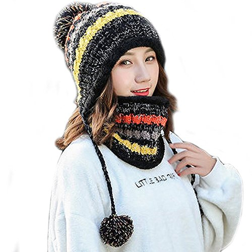 Fleece Lined Women Knit Beanie Scarf Set Girls Winter Ski Hat with Earflap Pompom (Black)
