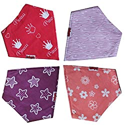 Babysta Bandana Drool Bibs for Girls with Snaps, 4-Pack Absorbent Teething Bibs