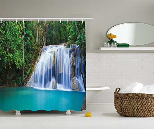 (Ambesonne Waterfall Decor Collection, Hidden Pool in Forest Rocky Brook Waterfall and Foliage Picture, Polyester Fabric Bathroom Shower Curtain Set with Hooks, Turquoise Green)