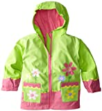 Stephen Joseph Little Girls' Flower Rain Coat,Lime Green,4T