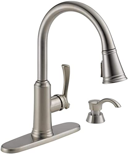 Delta 19963Z-SSSD-DST Lakeview Single-Handle Pull-Down Sprayer Kitchen Faucet with ShieldSpray Technology and Soap Dispenser in Stainless