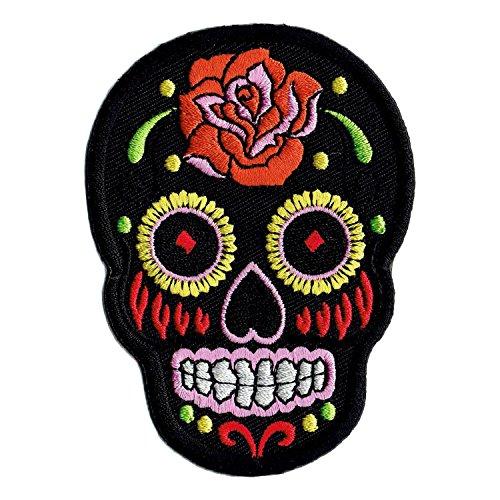 Mexican Sugar Skull Aufnäher Bügelbild Aufbügler Iron on Patches Applikation