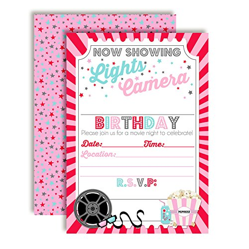Movie Night Birthday Party Invitations for Girl, 20 5