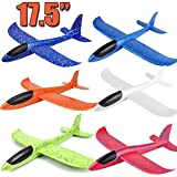 "6 Pack Airplane Toys, 17.5"" Large Throwing Foam Plane, 2 Flight Mode, Foam Gliders, Flying Aircraft, Birthday for Kids 3 4 5 6 7 8 9 Year Old Boy,Outdoor Sport Game Toys, Party Favors"